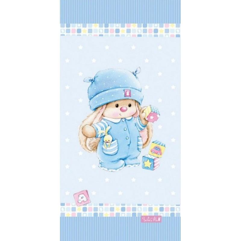 Полотенце для душа MonaLiza ЗАЙКА МИ с кубиками 70х140см, арт. 508994/1, Банные полотенца: бамбуковые, махровые. Детские и для взрослых, Мона-Лиза (Mona-Liza), детское, в кроватку для новорожденного