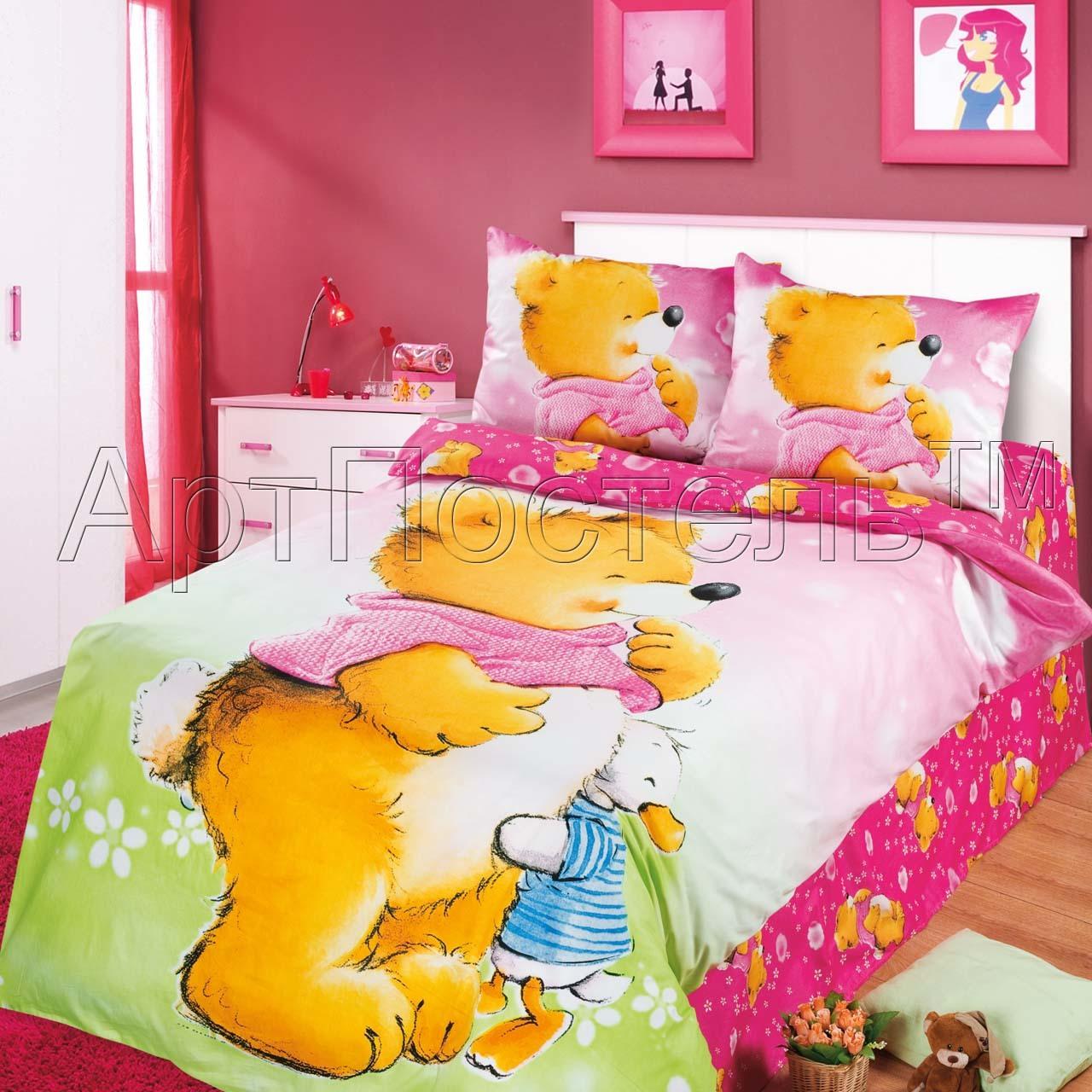 Детское постельное белье, сатин, 1.5-спальное, Давай дружить (розовая простыня) JUNIOR, арт. 740, Детское постельное бельё из сатина (1.5 спальное), Арт-Дизайн (Артпостель), из сатина, детское