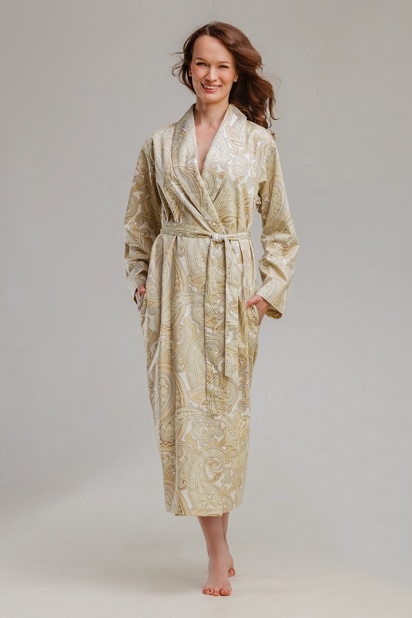 Халат женский длинный с поясом, Premiata EMPORIO BEIGE (мако-сатин), Халаты для дома, Коттон Дримс, из сатина